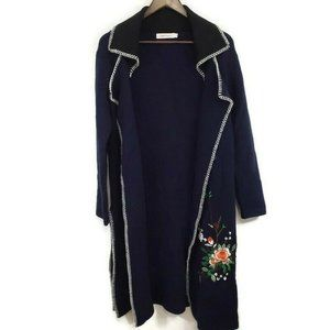 Simply Couture Womens Embroidered Sweater Duster